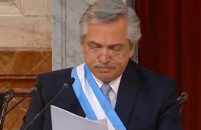 Alberto inaugura el 139° periodo de sesiones de manera virtual y sin movilización militante